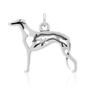 Sterling Silver Greyhound Pendant with Fox in Body