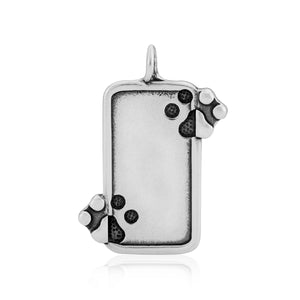 Sterling Silver Just the 2 Of Us Dog Paw Print Pendant Engravable