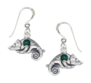 Sterling Silver Green Malachite Bead with Chameleon Earrings on French Wires