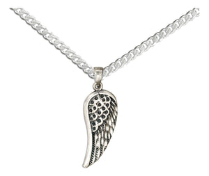 Sterling Silver 20 inch Angel Wing Pendant Necklace on Curb Chain