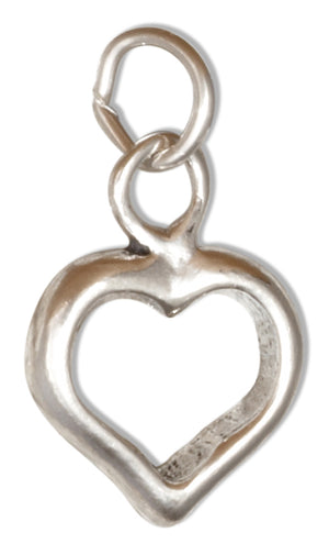 Sterling Silver Three Dimensional Open Heart Charm