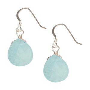 Sterling Silver Pear Shape Faceted Pale Blue Chalcedony Dangle Earrings