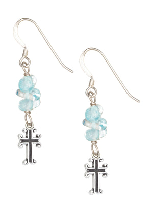 Sterling Silver Triple Blue Topaz Nuggets with Cross Dangle Earrings