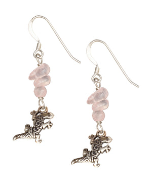 Sterling Silver Triple Pink Rose Quartz Nuggets with Lizard Dangle Earrings