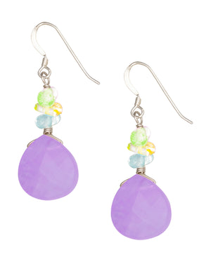 Sterling Silver Peridot, Blue Topaz, Citrine Nuggets with Pear Amethyst Earrings
