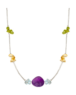 Sterling Silver 18 inch Liquid Silver Amethyst Necklace with Peridot, Citrine, Blue Topaz