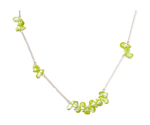 Sterling Silver 18 inch Liquid Silver Necklace with Peridot Nuggets