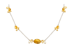 Sterling Silver 18 inch Liquid Silver Necklace with Oval Citrine Stone and Nuggets