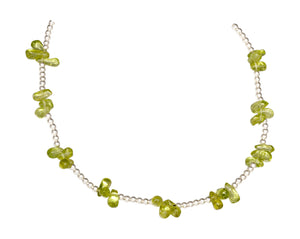 Sterling Silver 16 inch 2mm Bead Chain with Peridot Nuggets Necklace