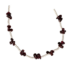 Sterling Silver 2mm Bead Chain with Garnet Nuggets Necklace