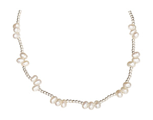 Sterling Silver 2mm Bead Chain with Rice Freshwater Pearl Nuggets Necklace