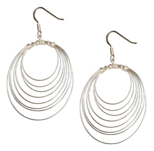 Sterling Silver Multi Circle Dangle Hoop Earrings on French Wires