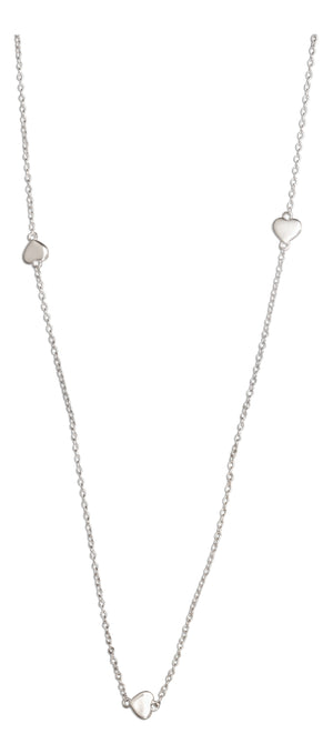 Sterling Silver 36 inch Small Shiny Hearts Necklace