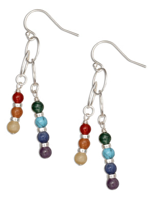 Sterling Silver Double Dangle Seven Genuine Stone Chakra Bead Earrings