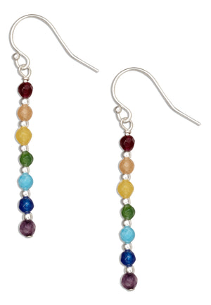Sterling Silver Seven Chakra Genuine Stone Stick Dangle Earrings