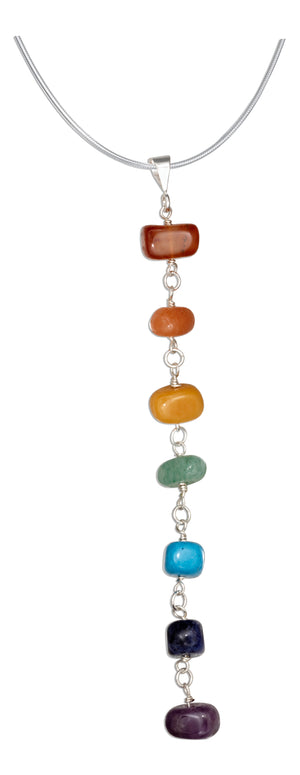 Sterling Silver 20 inch Seven Genuine Stone Chakra Nugget Long Dangle Pendant Necklace