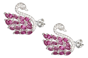 Sterling Silver Swan Post Earrings Adorned with Pave Cubic Zirconias and Pink Cubic Zirconia Stone Feathers