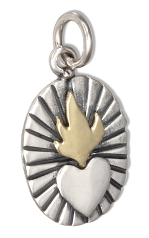 Sterling Silver Oval Sacred Heart with Bronze Flames Pendant