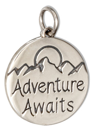"Sterling Silver ""Adventure Awaits"" Message Tag Pendant"