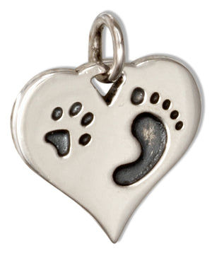 Sterling Silver Paw Print Footprint Heart Charm Pendant
