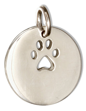 Sterling Silver Round Cutout Paw Print Charm Disk Pendant