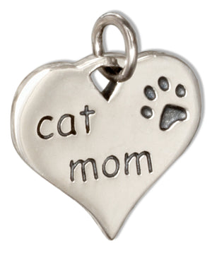 "Sterling Silver ""Cat Mom"" Heart Charm Pendant with Paw Print"