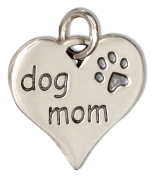 "Sterling Silver ""Dog Mom"" Heart Charm Pendant with Paw Print"