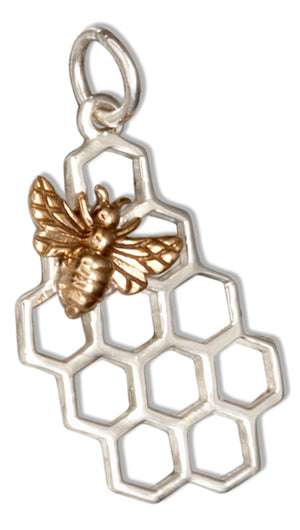 Sterling Silver Honeycomb with Bronze Bee Charm Pendant
