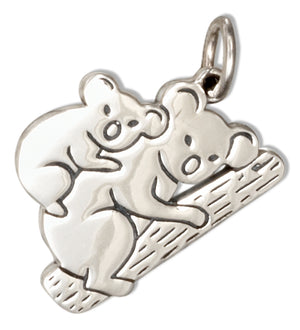 Sterling Silver Mom and Baby Koala Bear Charm Pendant