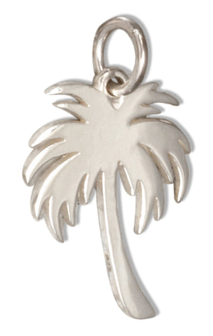Sterling Silver Small Tropical Palm Tree Charm Pendant