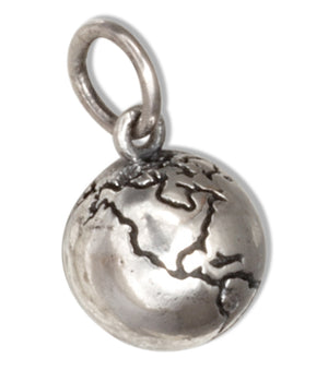 Sterling Silver Three Dimensional Earth World Globe Charm Pendant