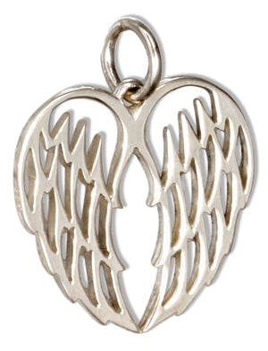 Sterling Silver Open Angel Wing Heart Charm Pendant