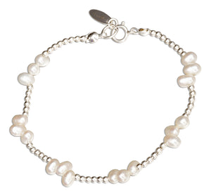 Sterling Silver 7 inch Freshwater Pearl Cluster on 2mm Bead Chain Bracelet