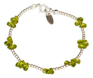 Sterling Silver 7 inch Peridot Nugget Cluster on 2mm Bead Chain Bracelet