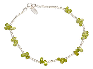 Sterling Silver 9 inch Peridot Nugget Cluster on 2mm Bead Chain Anklet