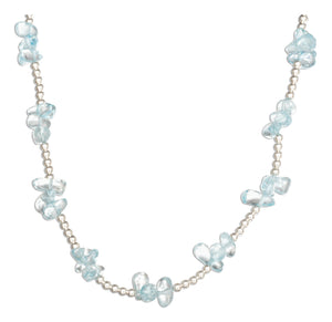 Sterling Silver 16 inch Blue Topaz Nugget Cluster on 2mm Bead Chain Necklace