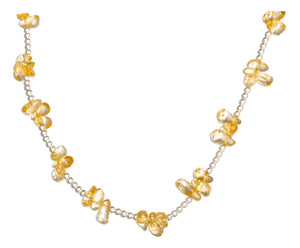 Sterling Silver 16 inch Citrine Nugget Cluster on 2mm Bead Chain Necklace