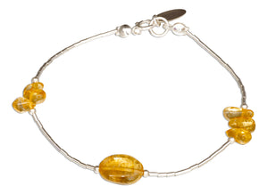 Sterling Silver 7 inch Triple Cluster and Oval Citrine on Liquid Silver Bracelet