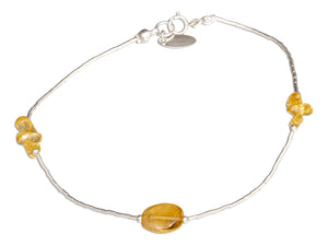 Sterling Silver 9 inch Triple Cluster and Oval Citrine on Liquid Silver Anklet