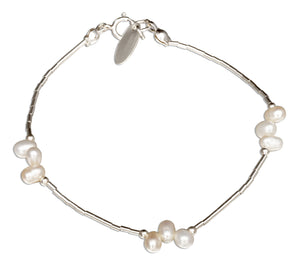 Sterling Silver 7 inch Triple White Freshwater Pearl Clusters on Liquid Silver Bracelet