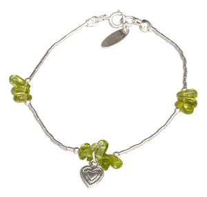 Sterling Silver 7 inch Peridot Nuggets on Liquid Silver Heart Dangle Bracelet
