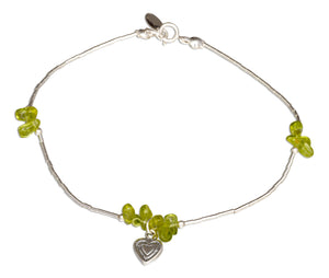 Sterling Silver 9 inch Peridot Nuggets on Liquid Silver Heart Dangle Anklet