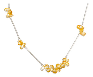 Sterling Silver 16 inch Citrine Nuggets on Liquid Silver Necklace
