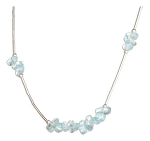 Sterling Silver 16 inch Blue Topaz Nuggets on Liquid Silver Necklace