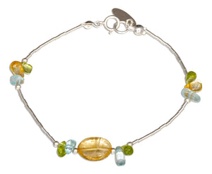 Sterling Silver 7 inch Peridot, Citrine, Blue Topaz Nuggets on Liquid Silver Bracelet