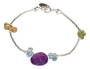 Sterling Silver 7 inch Peridot, Citrine, Blue Topaz and Amethyst Liquid Silver Bracelet