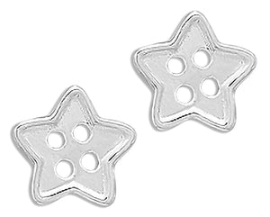 Sterling Silver Five Pointed Star Button Mini Post Earrings