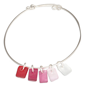 Silver Plated Shades Of Pink Rectangle Sea Glass Bangle Bracelet