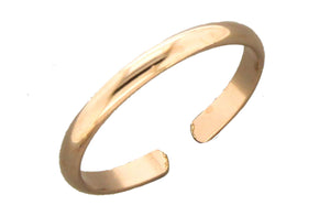 12 Karat Rose Gold Filled Adjustable 2mm Plain Toe Ring