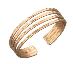 12 Karat Rose Gold Filled Adjustable Hammered Four Wire Band Toe Ring